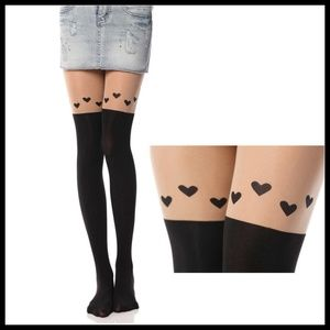 Miss Babydoll Accessories - ❤️NEW Cute Heart Pantyhose Stockings #B105